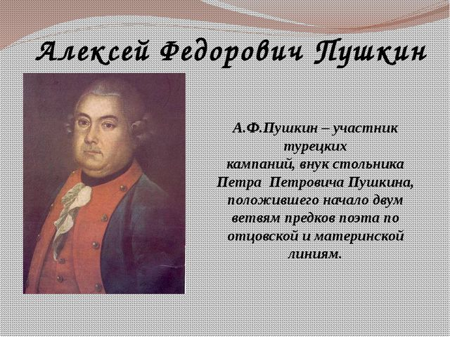 Алексей Федорович Пушкин А.Ф.Пушкин – участник турецких кампаний, внук стольн...