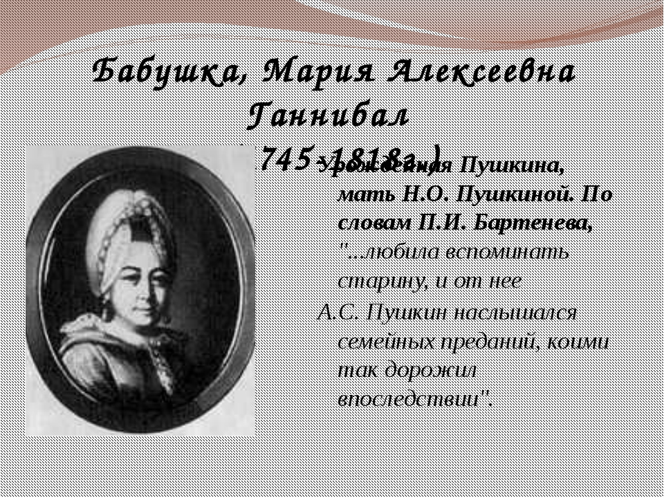 Бабушка, Мария Алексеевна Ганнибал (1745-1818г.) Урожденная Пушкина, мать Н.О...