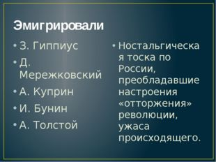 Эмигрировали З. Гиппиус Д. Мережковский А. Куприн И. Бунин А. Толстой Носталь
