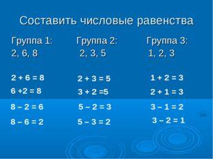 Составить числовые равенства Группа 1: Группа 2: Группа 3: 2, 6, 8 2, 3, 5 1,