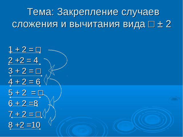 Тема: Закрепление случаев сложения и вычитания вида □ ± 2 1 + 2 = □ 2 +2 = 4...