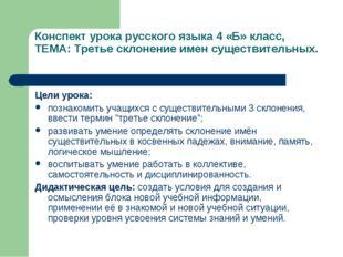 Конспект урока русского языка 4 «Б» класс, ТЕМА: Третье склонение имен сущест