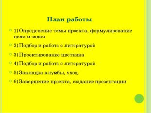 План работы 1) Определение темы проекта, формулирование цели и задач 2) Подбо
