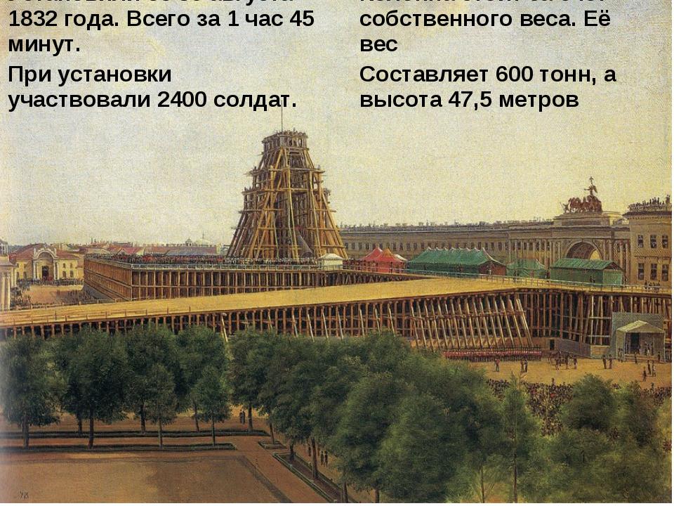 Установили ее 30 августа 1832 года. Всего за 1 час 45 минут. При установки уч...