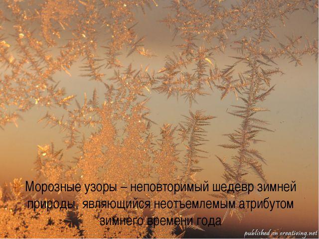 Морозные узоры – неповторимый шедевр зимней природы, являющийся неотъемлемым...
