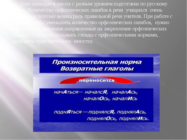Дети приходят в школу с разным уровнем подготовки по русскому языку.. Количе...