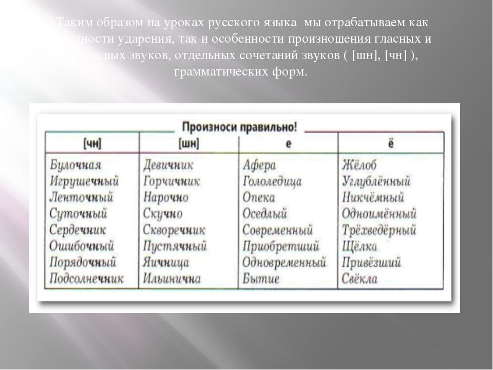 Таким образом на уроках русского языка мы отрабатываем как трудности ударения...