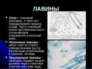 ЛАВИНЫ Осов – снежный оползень. У него нет определенного канала схода. Часто