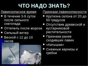 ЧТО НАДО ЗНАТЬ? Лавиноопасное время В течение 3-5 суток после сильного снегоп