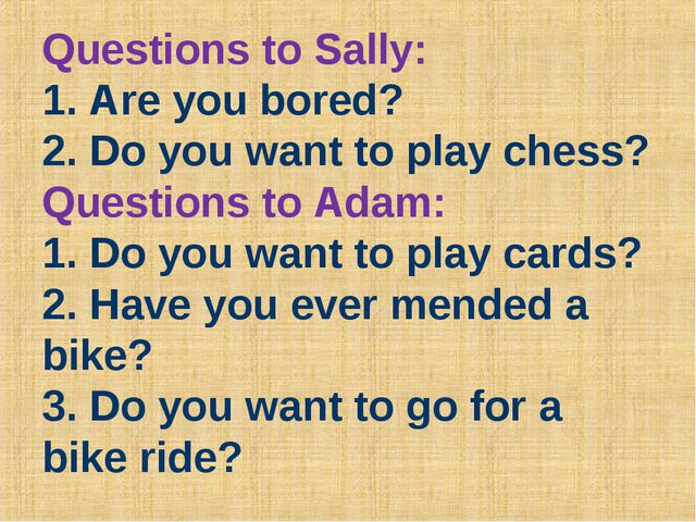Questions to Sally: 1. Are you bored? 2. Do you want to play chess? Questions...