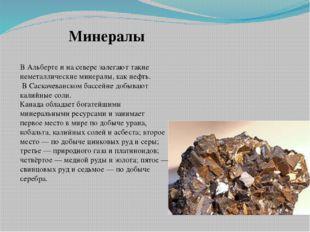 В Альберте и на севере залегают такие неметаллические минералы, как нефть. В
