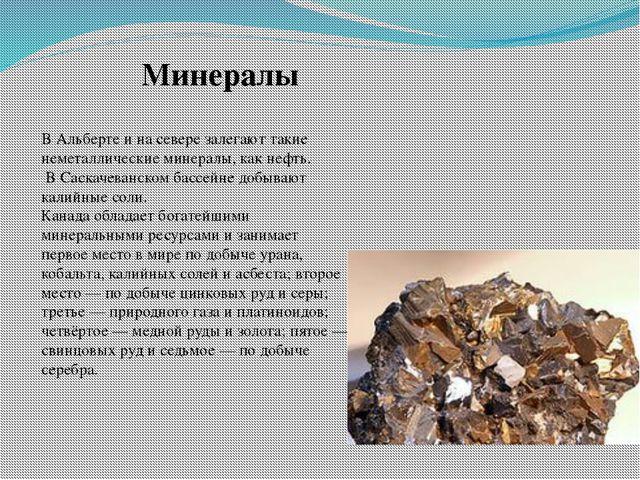 В Альберте и на севере залегают такие неметаллические минералы, как нефть. В...