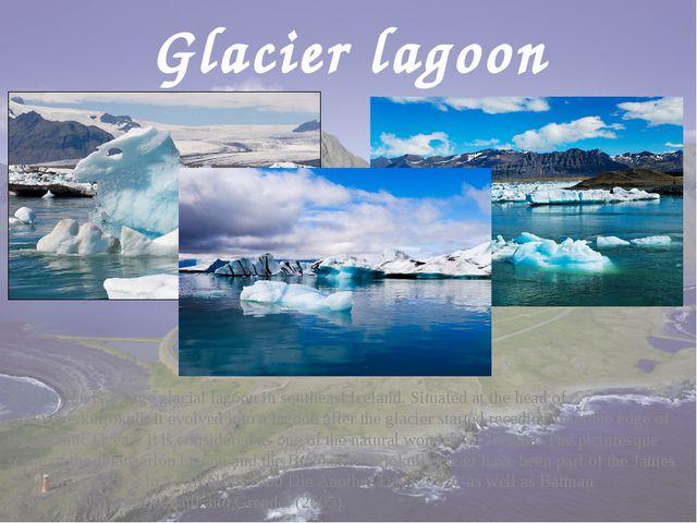 Glacier lagoon Jökulsárlón is a large glacial lagoon in southeast Iceland. Si...