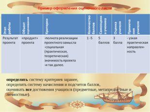 Пример оформления оценочного листа определить систему критериев заранее, опре