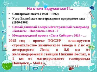 Но стоит задуматься?!... Сангарская шахта (1928 – 1992) Усть-Вилюйское местор