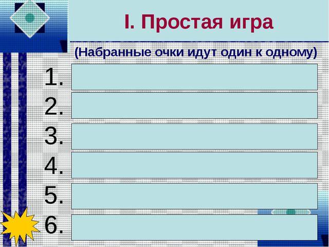 I. Простая игра 1. Процессор 2. Системный блок 3. Монитор 4. Память 5. Клавиа...