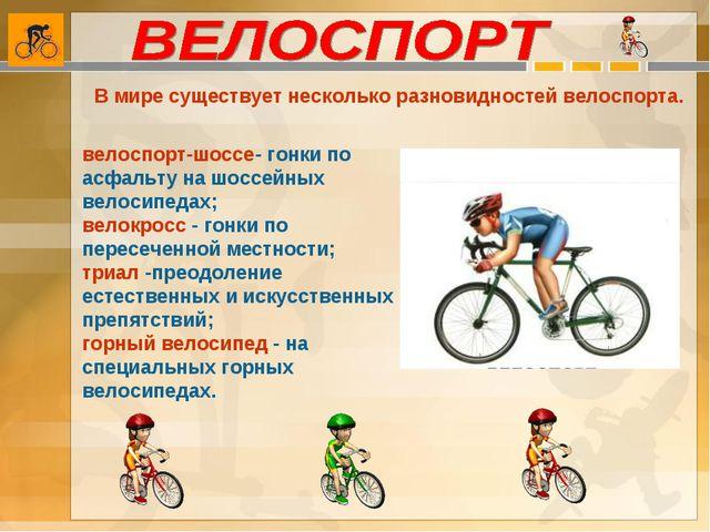 В мире существует несколько разновидностей велоспорта. велоспорт-шоссе- гонки...