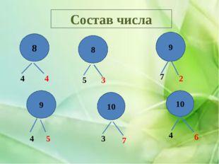 Состав числа 8 8 9 9 10 10 4 4 5 3 7 2 4 5 3 7 4 6