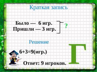Краткая запись Было — 6 игр. Пришли — 3 игр. ? Решение 6+3=9(игр.) Ответ: 9 и