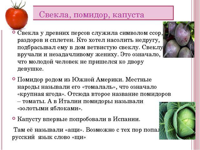 Свекла, помидор, капуста Свекла у древних персов служила символом ссор, раздо...
