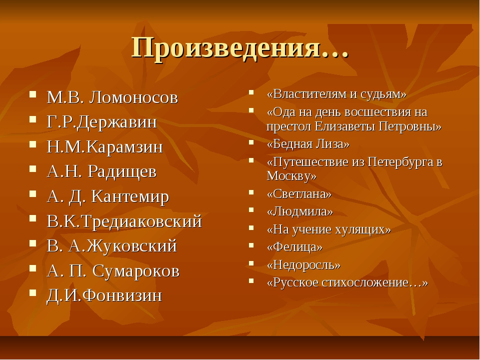 Произведения… М.В. Ломоносов Г.Р.Державин Н.М.Карамзин А.Н. Радищев А. Д. Кан...