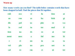 Warm up How many words can you find? The table below contains words that have