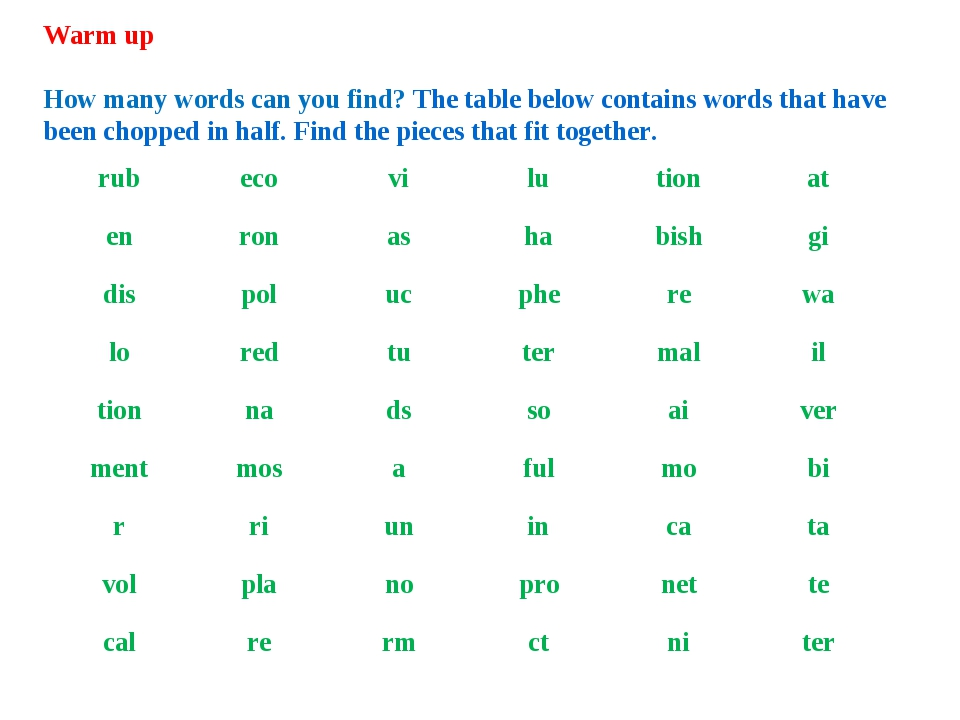 Warm up How many words can you find? The table below contains words that have...