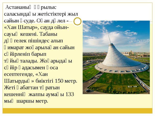 Астананың құрылыс саласындағы жетістіктері жыл сайын өсуде. Оған дәлел - «Ха...