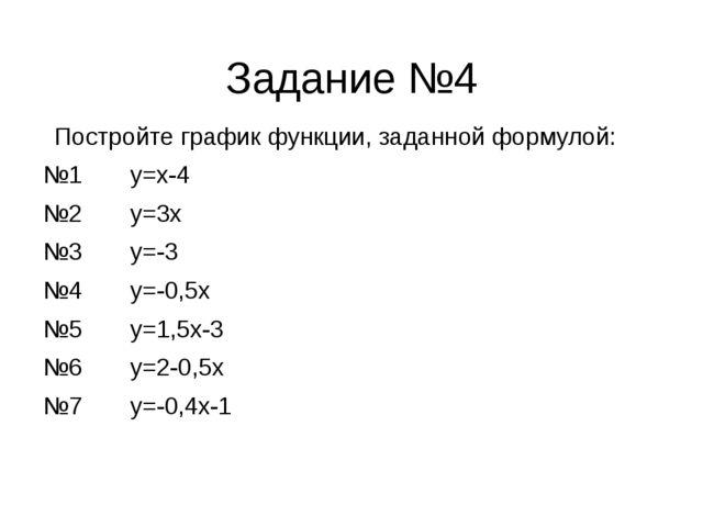 Задание №4 Постройте график функции, заданной формулой: №1 y=x-4 №2 y=3x №3 y...