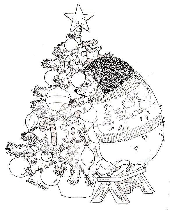 Hedgie Trims the Christmas Tree - free coloring page from Jan Brett: