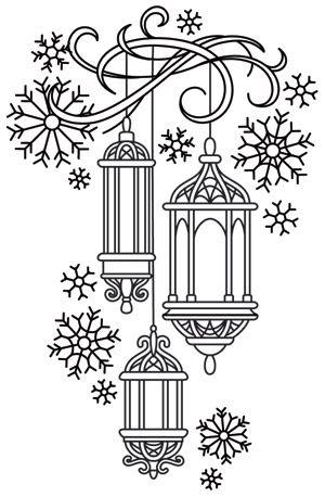 Lanterns in the Snow design (UTH7197) from UrbanThreads.com: