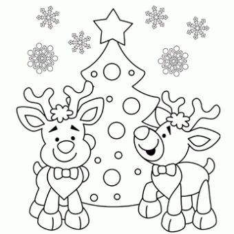 Reindeer Coloring Page - Free Christmas Recipes, Coloring Pages for Kids & Santa Letters - Free-N-Fun Christmas: