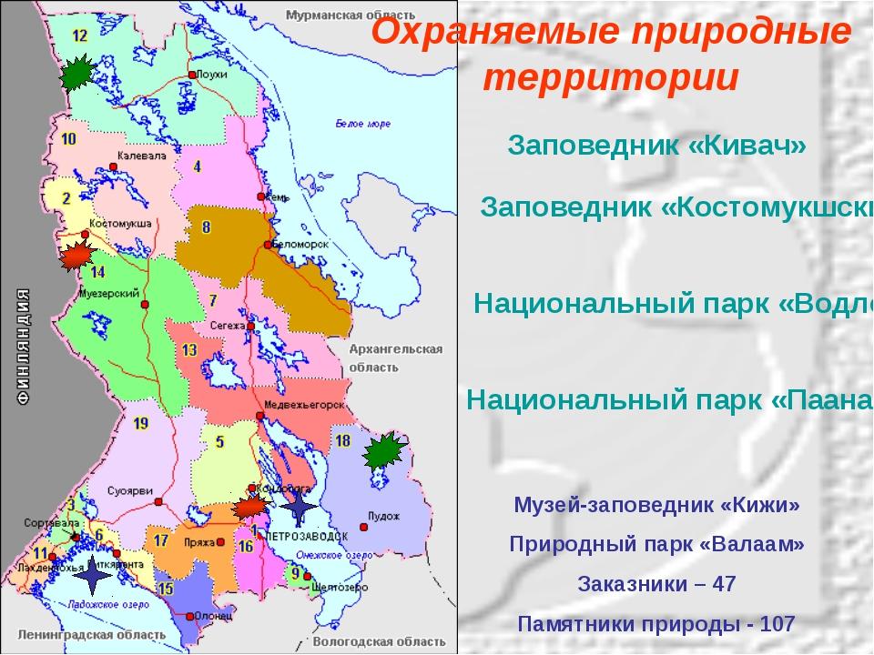 Заповедник «Кивач» Заповедник «Костомукшский» Национальный парк «Водлозерский...