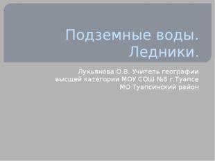 Подземные воды. Ледники. Лукьянова О.В. Учитель географии высшей категории МО