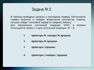 Задача № 2 В таблице приведены запросы к поисковому серверу. Расположите номе