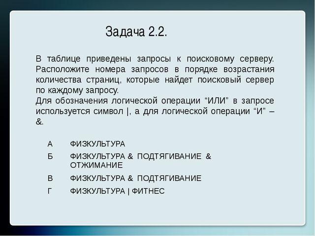 Задача 2.2. В таблице приведены запросы к поисковому серверу. Расположите ном...