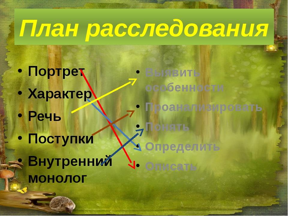 План расследования Портрет Характер Речь Поступки Внутренний монолог Выявить...
