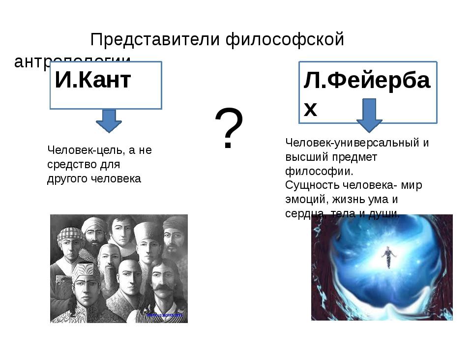Представители философской антропологии ? И.Кант Человек-цель, а не средство...