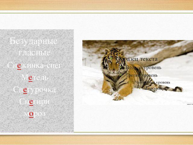 Безударные гласные Снежинка-снег Метель Снегурочка Снегири мороз