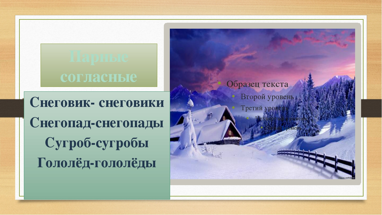 Парные согласные Снеговик- снеговики Снегопад-снегопады Сугроб-сугробы Гололё...