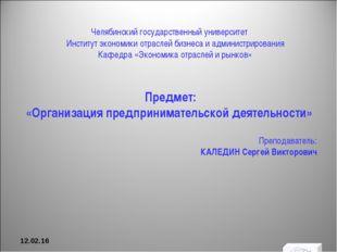 Челябинский государственный университет Институт экономики отраслей бизнеса и