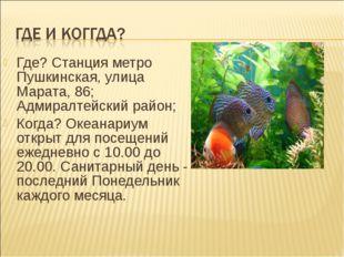 Где? Станция метро Пушкинская, улица Марата, 86; Адмиралтейский район; Когда?
