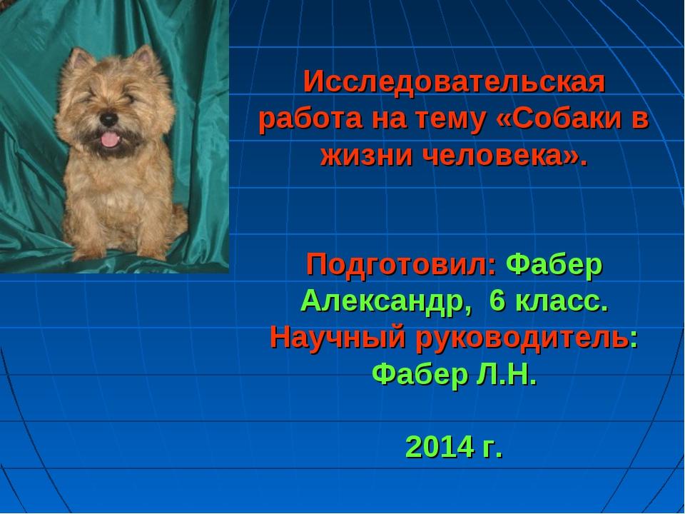 Исследовательская работа на тему «Собаки в жизни человека». Подготовил: Фабе...
