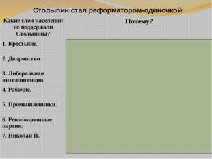 Столыпин стал реформатором-одиночкой: Какие слои населения не поддержали Стол