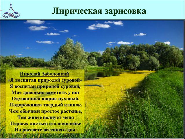 Лирическая зарисовка Николай Заболоцкий «Я воспитан природой суровой» Я воспи...