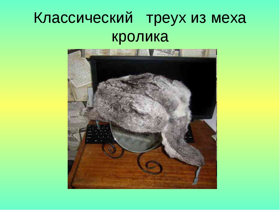 Классический треух из меха кролика