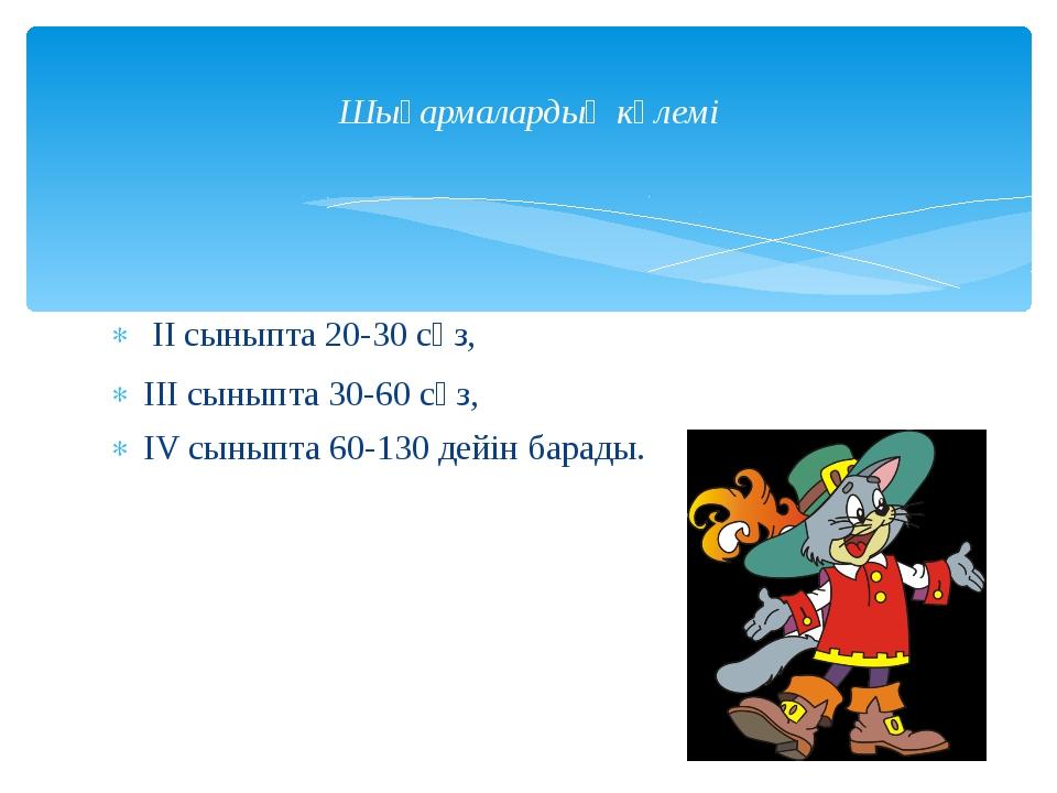 ІІ сыныпта 20-30 сөз, ІІІ сыныпта 30-60 сөз, ІV сыныпта 60-130 дейін барады....