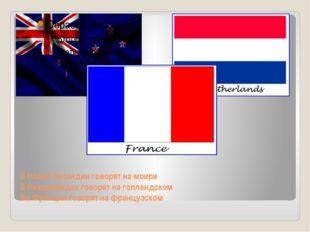 В Новой Зеландии говорят на моири В Нидерландах говорят на голландском Во Фра