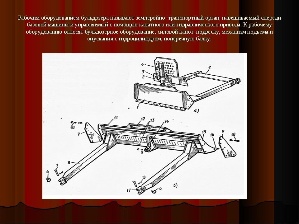 Рабочим оборудованием бульдозера называют землеройно- транспортный орган, нав...