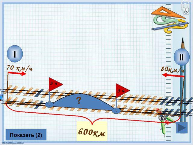 80км/ч II I 70 км/ч Показать (2) ? 3 ч 600км 3 ч Л.Г. Петерсон «Математика 4...